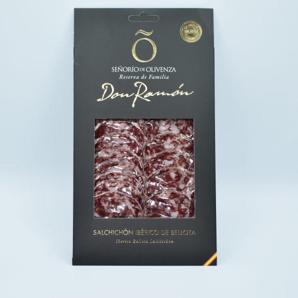 Salchichon ibérico de bellota loncheado Señorío de Olivenza, sin aditivos, ni conservantes